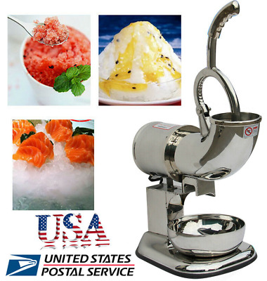 【USA】110V 400LBS Electric Ice Crusher Shaver Machine Snow Cone Maker Shaved Ice