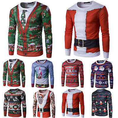 Mens Christmas 3D Long Sleeve T-Shirt Santa Elf Reindeer Tops Tee T Shirts Xmas