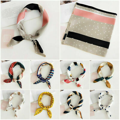 Womens Square Silk Feeling Satin Scarf Small Head-Neck Hair Tie Band Holiday A8