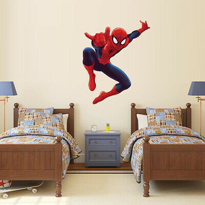 Spider Man Wall Sticker Boys Kids Room Cartoon Mural Wall Decal Super Hero Decor