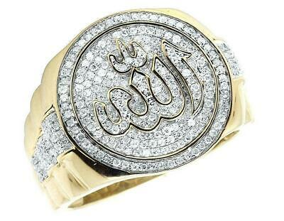 14K Yellow Gold Fn Islamic Allah Pinky Presidential Ring 1Ct Round Cut Diamond