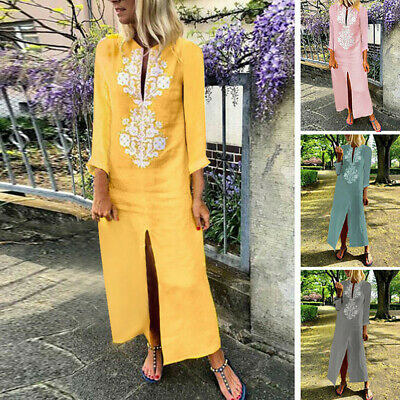 Women Loose Paisley Baggy Cotton Linen Kaftan Dress Long Sleeve Maxi Dress Cour