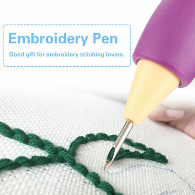 Embroidery Pen Wool Needle Felting Tool Punch Pen with 2 Needles Set Craft DIY