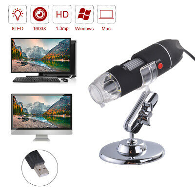 1600X 8 LED USB Zoom Digitale Microscopio Hand Held Biological Endoscopio TE1167