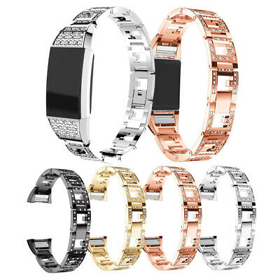 For Fitbit Charge 2 Watch Strap Wrist Band Stainless Steel Rhinestone Hand Belt