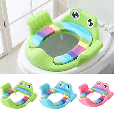 Safe Frog Potty Training Toilet Seat Baby Soft Padded With Handles For Toddler