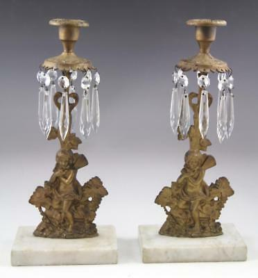 Pair Antique Victorian Marble & Gold Gilt Figural Girandoles With Crystal Prisms