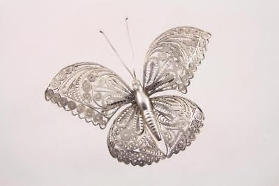 Large Vintage Mexican Silver Filigree Butterfly Brooch Pin