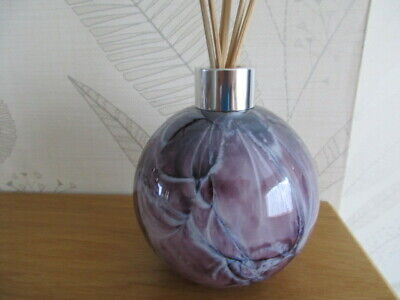 Beautiful Hand Made Amelia Art Glass Reed Diffuser Lilac Veined boxed Gift Idea