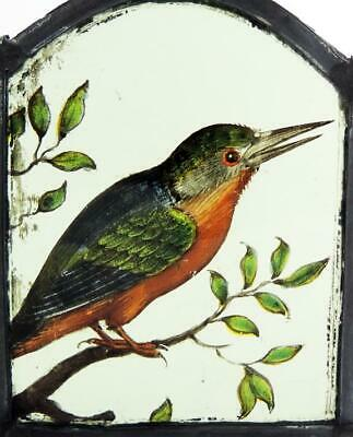 KING FISHER BIRD STAINED GLASS PANEL 17th CENTURY