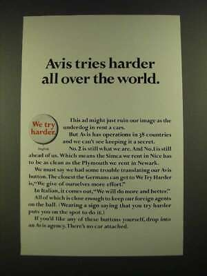 1967 Avis A Car Ad Tries Harder All Over The World