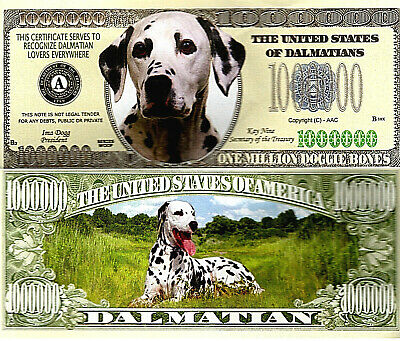 Dalmatian Dog Breed Novelty Bank Note Pup 101 Disney Lovers Million Dollars Cute