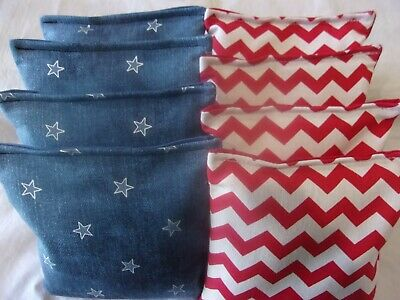 ACA Regulation Corn Hole Bags Set of 8 BLUE DENIM STARS AND CHEVRON STRIPES