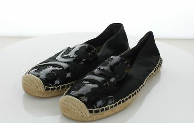 3836694bf 25-46 Tory Burch Poppy Black Canvas & Patent Espadrille Shoe Womens Sz ...