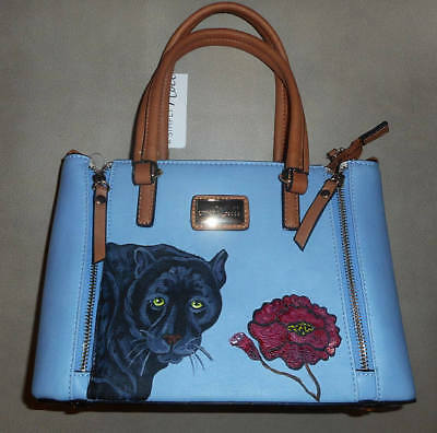 Black Panther Red Flower Hand Painted Baby Blue Leather Handbag Bag Purse Vegan