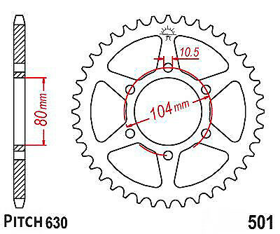 Hendler Rear Sprocket 33 Teeth (501-33) Kawasaki Z 750 GP 1982