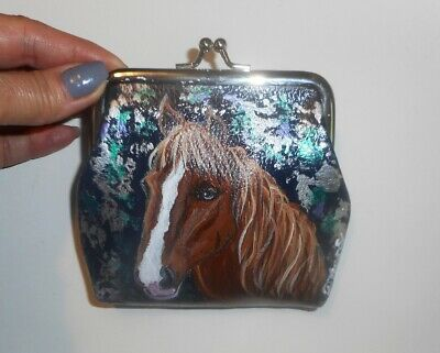 Horse Hand Painted Clutch Coin Purse Mini Wallet for Women Girls Vegan