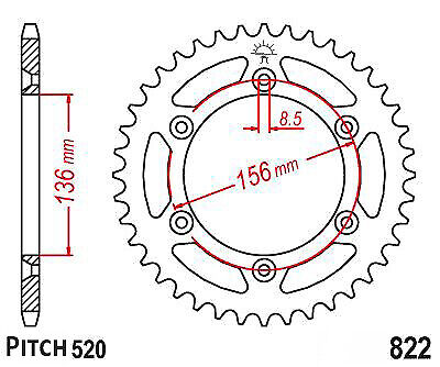 Hendler Rear Sprocket 43 Teeth (822-43) Suzuki PE 250 1977-1979