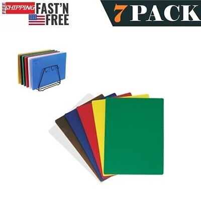 "7 PACK Set of 6 Colors 15"" x 20"" x 1/2"" Cutting Boards and 1 Cutting Board Rack"