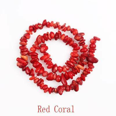 5-8mm Red Coral Natural Free-form Stone Chip Bead Strand Gemstone Jewelry Making