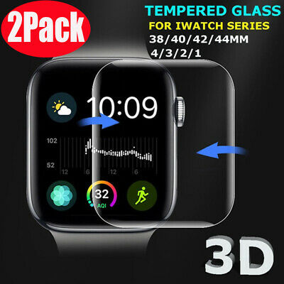 2X For Apple Watch 40/44/42/mm FULL COVER 3D Tempered Glass Screen Protector es