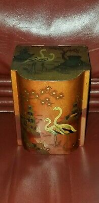 BARET WARE ENGLAND TIN TOLE RED CHINOISERIE tea canister