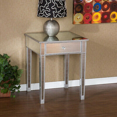 Mirrored End Table with Drawer Accent Table Nightstands Home Furniture