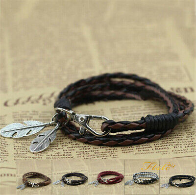 Fashion Leather Wrap Braided Wristband Cuff Punk Men Women Bracelet Bangle UK