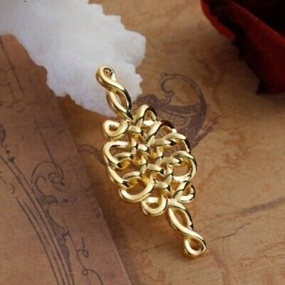 2Pcs Gold Plated Celtic Knot Carved Rhombus Pendant for Jewelry Making Connector