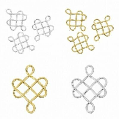 3Pcs Silver Gold Plated Celtic Knot Charms Connectors 24mm Jewellery Craft Pagan