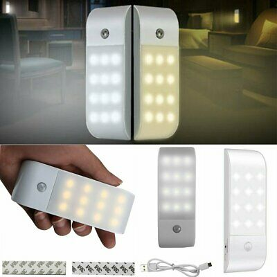 USB Rechargeable Motion Sensor 12 LED Night Lights Cabinet Cupboard Stair Lamp