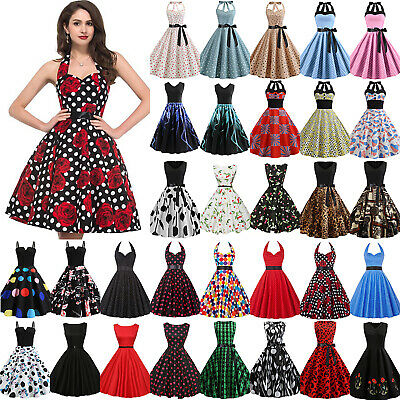 Women Hepburn 50s 60s Rockabilly Dress Pinup Party Cocktail Vintage Swing Dress