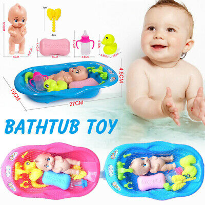 Baby Doll In Bath Tub With Shower Floating Bathtime Kids Play Pretend Role Toy