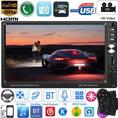 Double 2Din 7in BT AUX SWC Mirror Link Car Stereo Video MP5 Player FM Autoradios