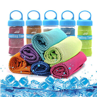 Instant Cooling Towel Sports Gym Drying Sweat Microfibre Absorb Dry & Case UK