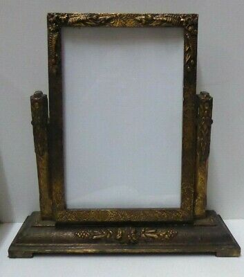 Table Top Art Deco Picture Frame On Wooden Frame Stand Gesso Decoration
