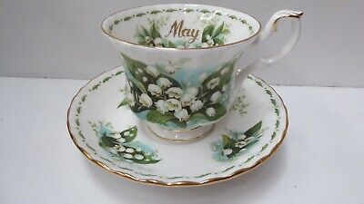 Vintage Porcelain Royal Albert May Flower Of Month Lily Of Valley Cup & Saucer