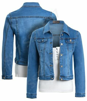 Girls Denim Jacket Blue Jean Jackets Stretch Age 4 5 7 8 10 12 14 Years