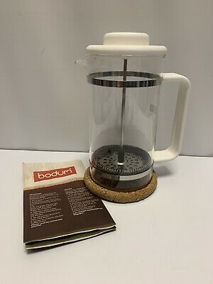 BODUM Bistro French Press Coffee Maker White 8 Cup and Cork Mat 1508