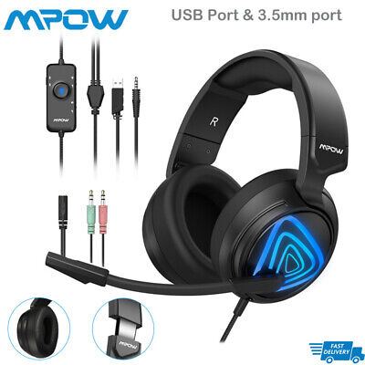 MPOW EG8 SURROUND Gaming Headset LED Noise Cancelling Mic