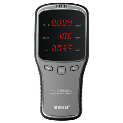 5 In1 Air Quality Monitor PM2.5 PM10 Formaldehyde HCHO TVOC LED Digital Detector