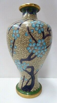 Vintage Cloisonne Vase Blue Cherry Blossom Tree Asian Chinese Enamel Vase