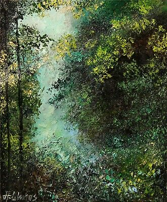 SOLD Landscape Forest Mystery Woods Trees ORIGINAL OIL PAINTING Andre Dluhos