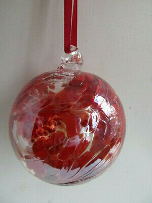 Glass Mouth Blown Spirit of Friendship Ball Deepest Red /Clear 8cm Boxed Gift