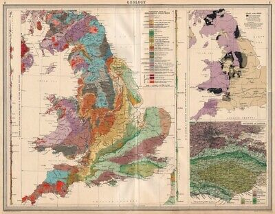 ENGLAND AND WALES Geology Coal & iron deposits Geological. LARGE 1939 old map