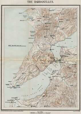 FIRST WORLD WAR. The Dardanelles. Minefields. Military map 1928 old