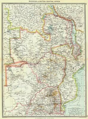 ZIMBABWE. Rhodesia and British Central Africa 1907 old antique map plan chart
