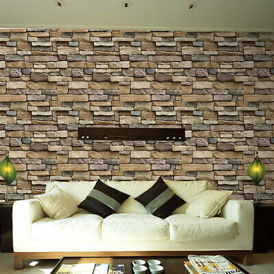 3D Wall Paper Brick Stone Rustic Effect Self-adhesive Wall Sticker Home Decor S