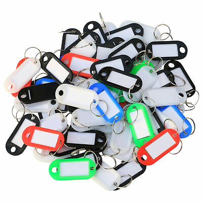Pack of 20 Small Plastic Colour Key Tags with Paper Inserts Split Rings