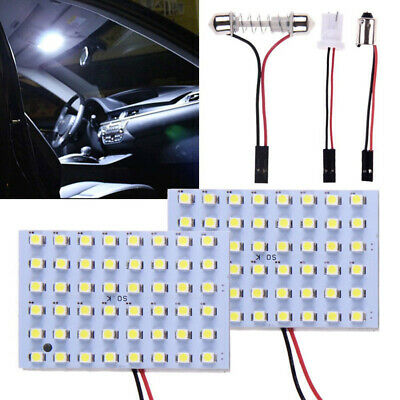 2x 12V Car 48 SMD LED Light Panel T10 Festoon Ba9s Dome Map Interior Bulbs White